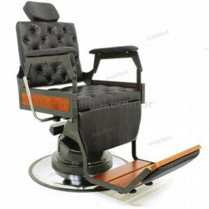 Cadeira de Barbeiro Hawk Plus Reclinável em Aço e Madeira Maciços - Preto-0
