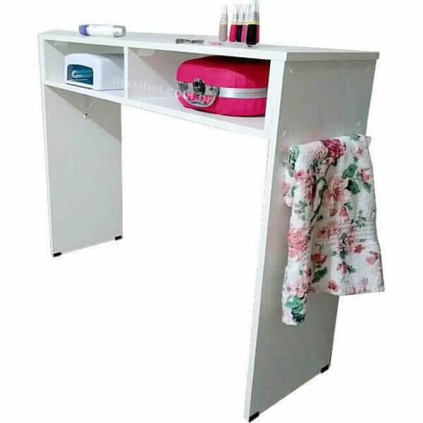 Mesa de Manicure com 1m e 2 Compartimentos - Branco 1007730-0