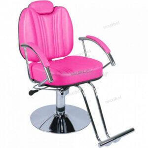 Cadeira de Cabeleireiro Reclinável Milano em Base Redonda - Rosa-0