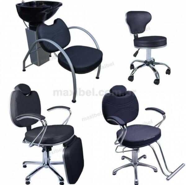 Kit com 1 Cadeira Padrão Relax, 1 Cadeira Reclinável, Lavatório e Mocho DZ
