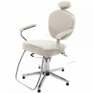 Cadeira de Salão de Beleza Domus com Encosto Reclinável - Areia-0